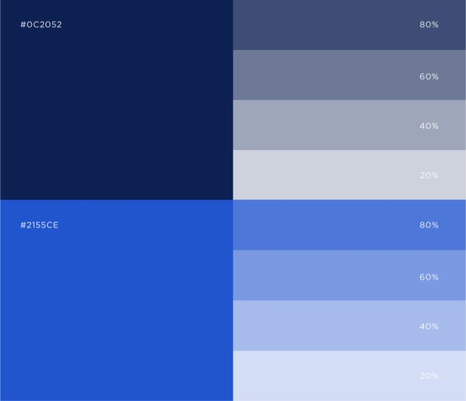 Dark blue color palette