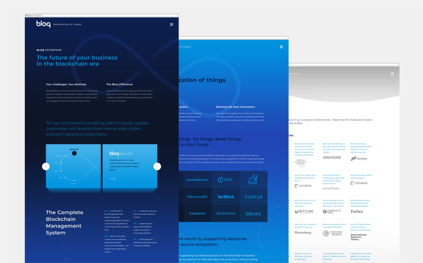 Bloq website interior pages