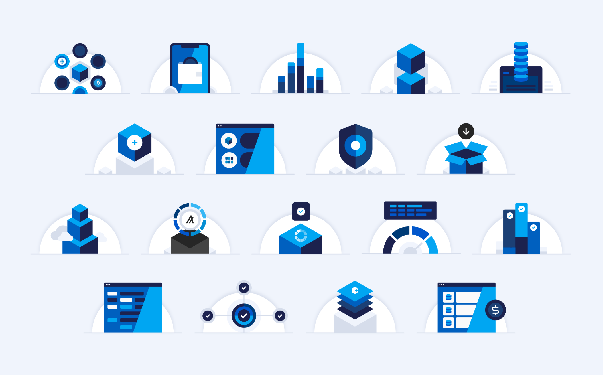 assortment of abstract product logos