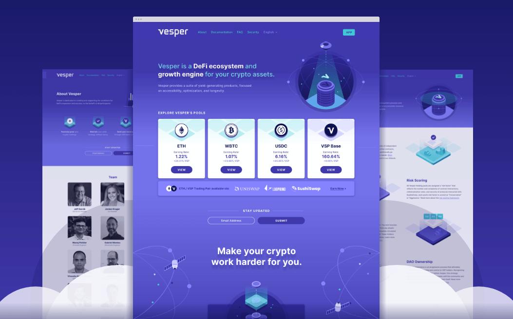 Website screenshots purple bg